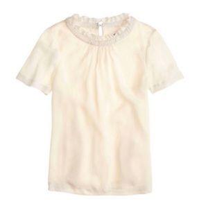 J. Crew Ivory Ruffle Neck Silk Pullover Blouse 4